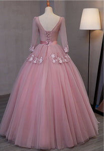Sweet 16 Dresses | Smoking pink V neck long evening dress with appliqués, long sleeves lace up winter formal prom dress