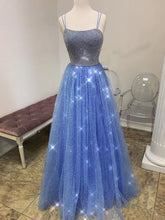 Load image into Gallery viewer, 2019 Prom Dresses | Bling Blue Tulle Spaghetti Straps Open Back Long Prom Dress, Beaded Evening Dress