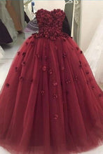 Load image into Gallery viewer, 2019 Prom Dresses | Burgundy tulle sweetheart neck long 3D lace appliqué ball gown, long tulle evening dress