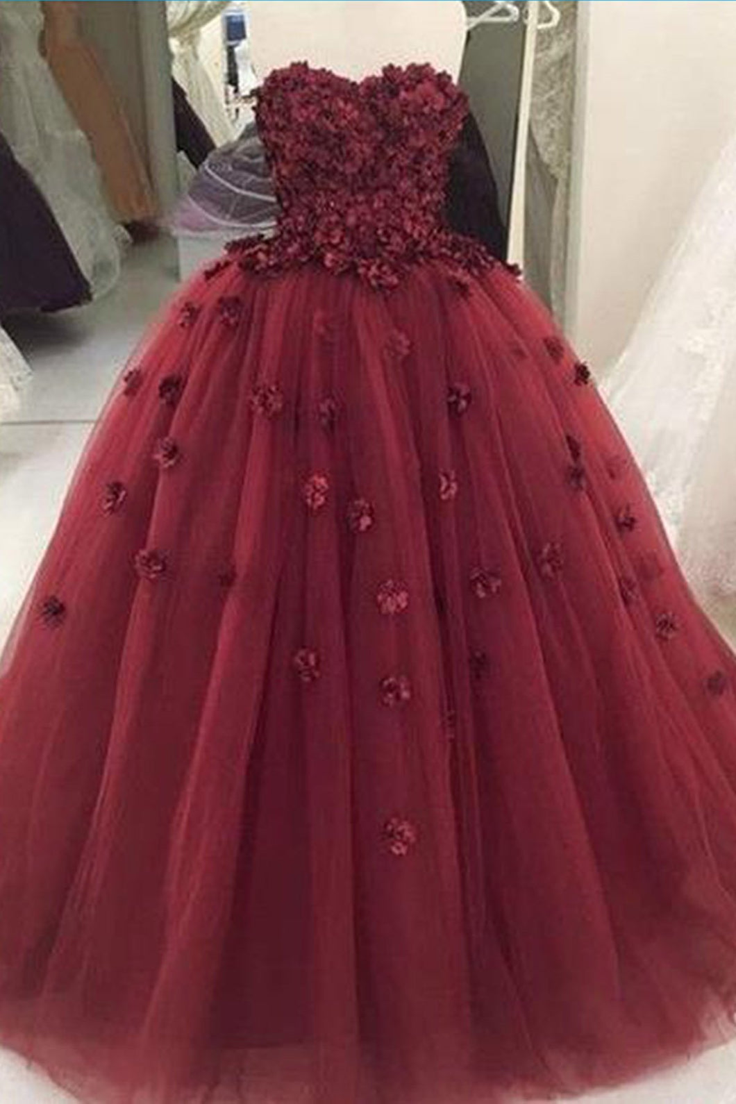 2019 Prom Dresses | Burgundy tulle sweetheart neck long 3D lace appliqué ball gown, long tulle evening dress