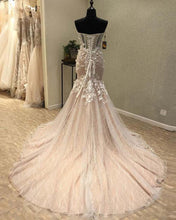 Load image into Gallery viewer, Sweet 16 Dresses | Fashion sweetheart long lace sweep train mermaid see through evening dresses