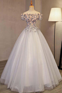 Sweet 16 Dresses | Strapless gray tulle off shoulder flower appliqués long A-line evening dress with short sleeves