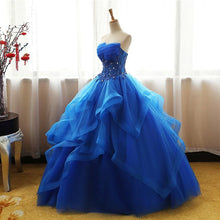 Load image into Gallery viewer, Sweet 16 Dresses | Sweetheart royal blue tulle long ball gown, strapless lace up long evening dress, formal prom dresses