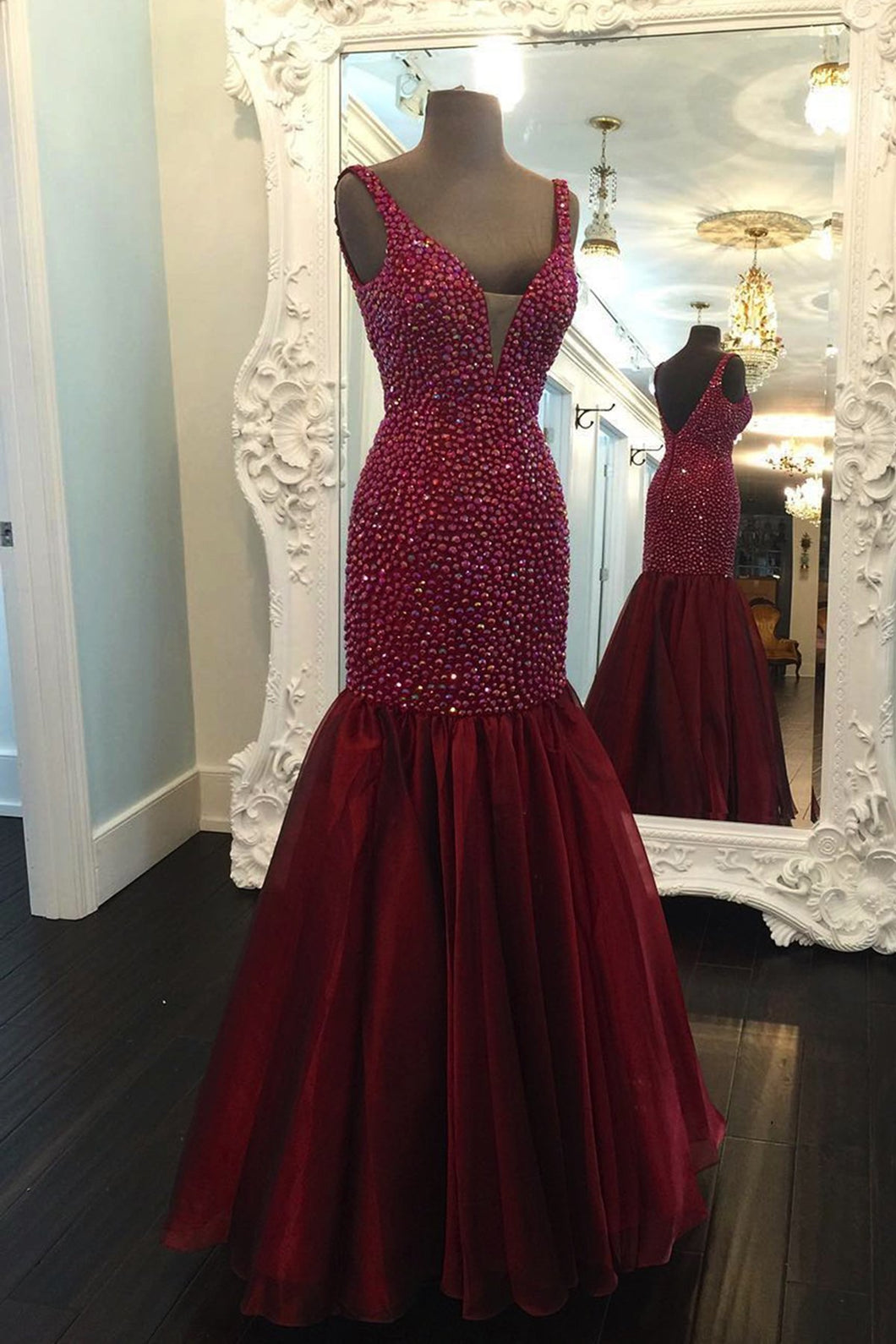 Sweet 16 Dresses | Stylish burgundy organza V neck open back long halter mermaid evening dresses with beading