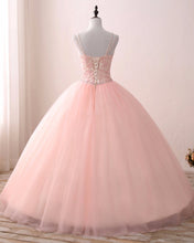 Load image into Gallery viewer, 2019 Prom Dresses | Blush Pink Tulle V neck Sweet 16 Prom Dress,  Lace Long Prom Gown