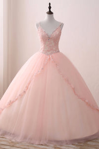 2019 Prom Dresses | Blush Pink Tulle V neck Sweet 16 Prom Dress,  Lace Long Prom Gown