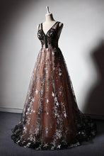Load image into Gallery viewer, 2019 Prom Dresses | 2019 Unique black floral tulle v neck long halter prom dress, party dress