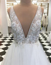Load image into Gallery viewer, Sweet 16 Dresses | White deep V neck long halter winter formal prom dress, long  flower lace appliqués dress