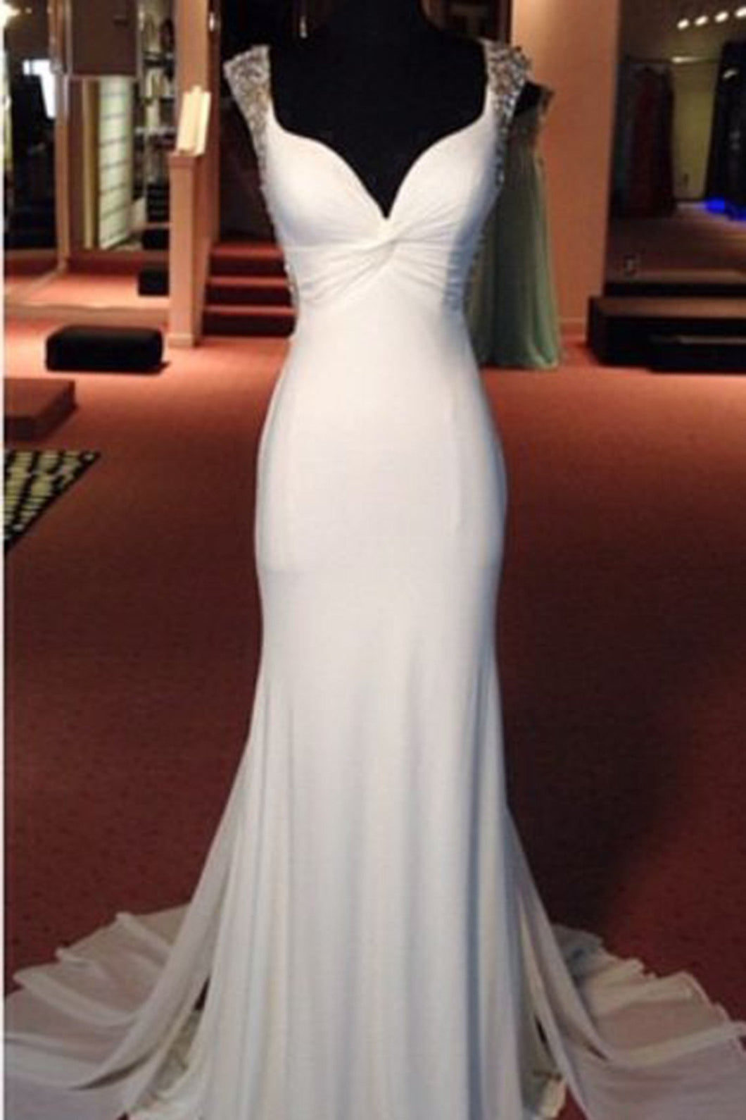 Sweet 16 Dresses | White chiffon V-neck see-through sequins beading formal long dress  train evening dress