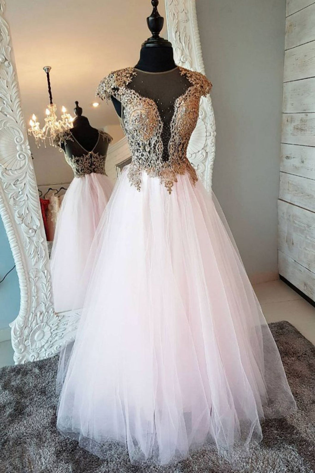 2019 Prom Dresses | 2019 White tulle O neck long senior prom dress, gold lace evening dress with cap sleeve