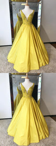 Sweet 16 Dresses | Shinning yellow satin V neck long winter formal prom dress, long A-line evening dresses