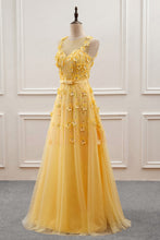Load image into Gallery viewer, Sweet 16 Dresses | Elegant yellow tulle long sleeveless halter evening dress, long 3D flower beaded prom dress