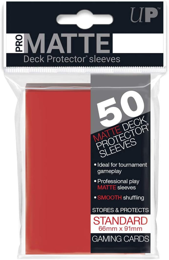 Ultra Pro Matte Red Standard Deck Sleeves 50 Per Pack
