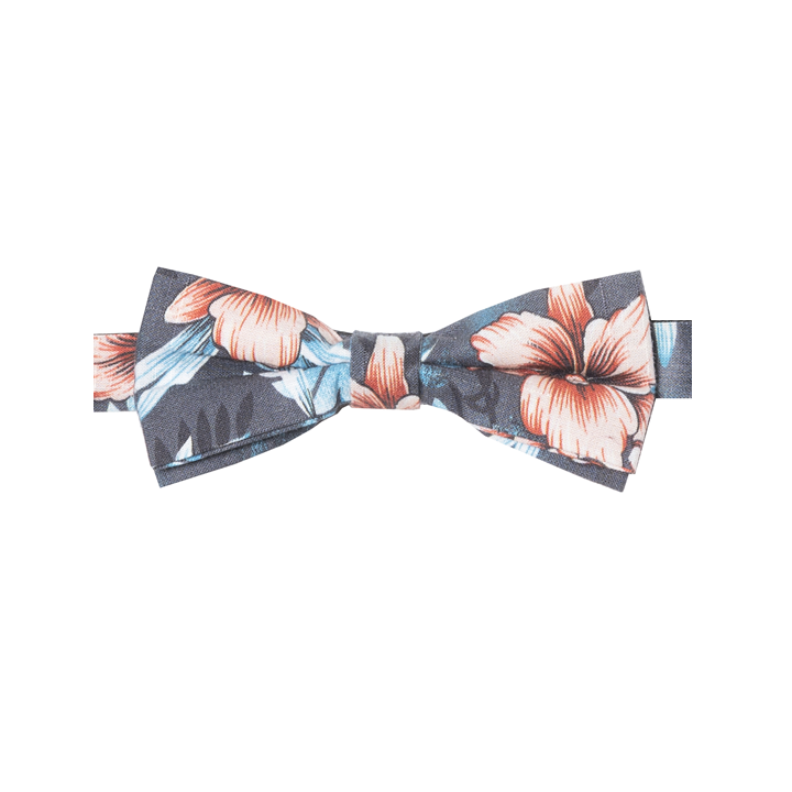 PHILANOÉ - NOEUD PAPILLON COTON - MOTIF TROPICAL - BLEU, GRIS ET ROSE