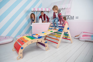 Foldable Wooden Climbing Triangle with Ladder for Sliding & Climbing for Toddlers - Montessori Balance Board N.Wood+Rainbow (Standard Size)