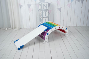 Baby gym set of 1 triangle 1 ramp and 1 balance board Standard size White+Rainbow
