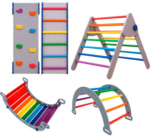 Montessori SET OF 5 ITEMS: 2 RAMPS, 1 TRIANGLE, 1 ARCH, AND 1 BALANCE BOARD, STANDARD SIZE, Color Gray+ Rainbow