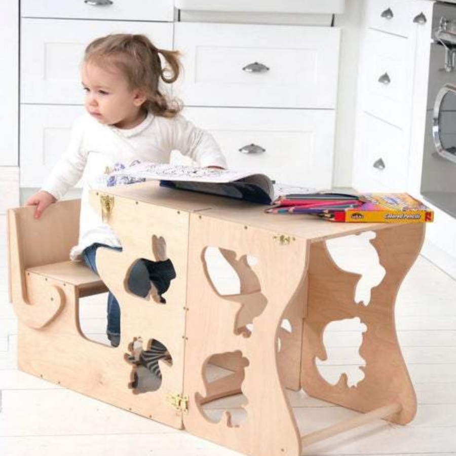 Helper tower and learning table  animal decor