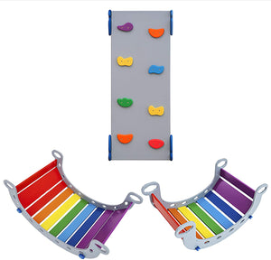 Montessori gym Set of 2 Balance Boards and Ramp Grey+Rainbow