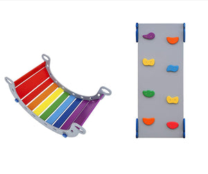 Toddler gym set of 1 ramp 1 balance board Standard Size Gray + Rainbow