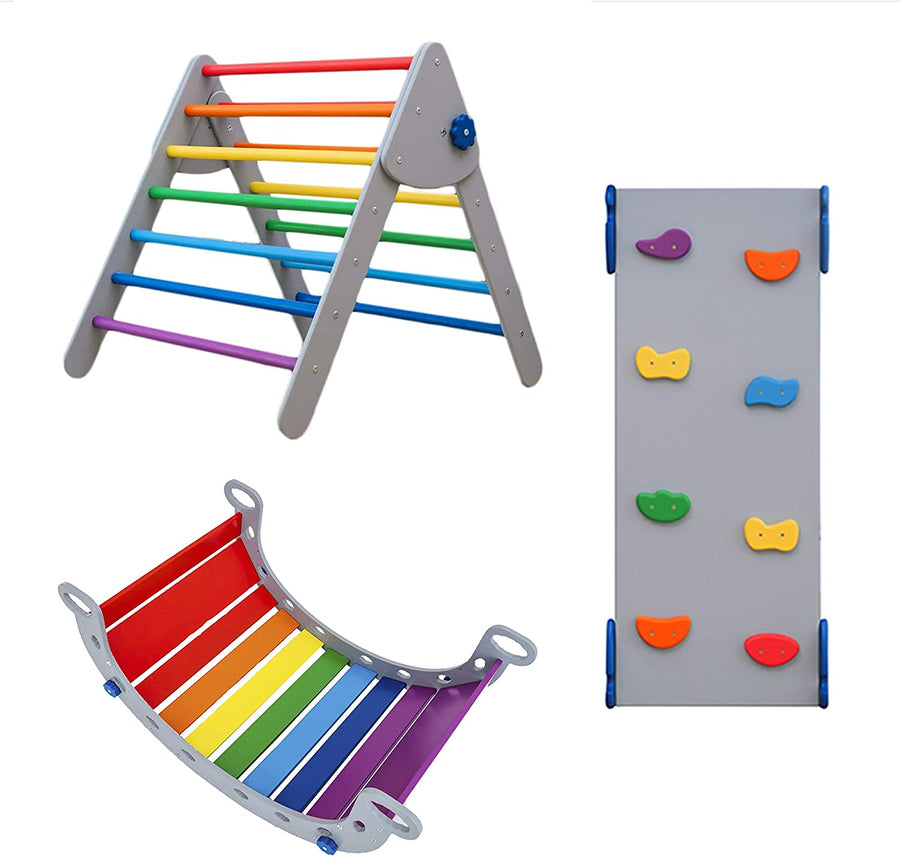 Montessori set of 3 items: 1 Balance Board+1 Ramp+1 Triangle Standard Size Grey+Rainbow