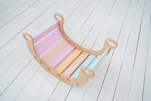 Set with 2 Balance Boards + 1 Ramp Montessori gym Natural Wood+ Pastel color