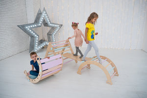 KEEP YOUR KIDS BUSY WITH Montessori SET OF 4 ITEMS: 1 RAMP, 1 TRIANGLE, 1 ARCH, AND 1 BALANCE BOARD, STANDARD SIZE