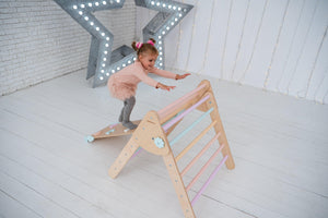 Baby gym set of 1 triangle 1 ramp and 1 balance board Standard size Natural Wood+Pastel