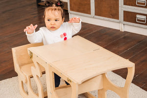 Kitchen step stool chair. The child is sitting at the table DIMENSIONS of  Transformer  Kitchen tower   Height: 90 cm/35 inch Width: 50 cm/19.68 inch Length: 38 cm/14,96 inch
