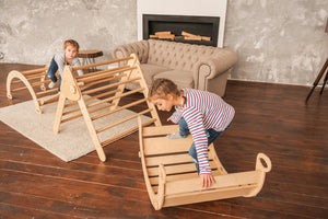 Montessori Set of 5 items: 2 Ramps, 1 Triangle, 1 Arch, and 1 Balance board Standard Size