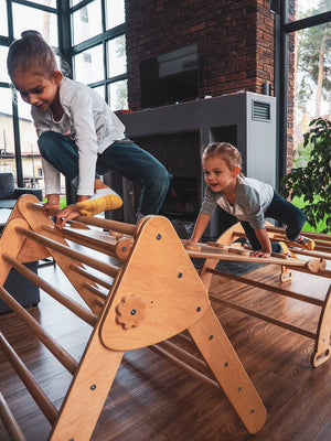 Two children are playing inside. Children's furniture Pikler Arch, Pikler ramp and Pikler Triangle Color:  Naturally wood