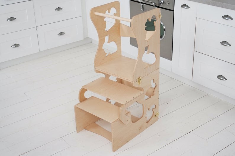 Kitchen step stool chair with animals.  DIMENSIONS of  Transformer  Kitchen tower   Height: 90 cm/35 inch Width: 50 cm/19.68 inch Length: 38 cm/14,96 inch