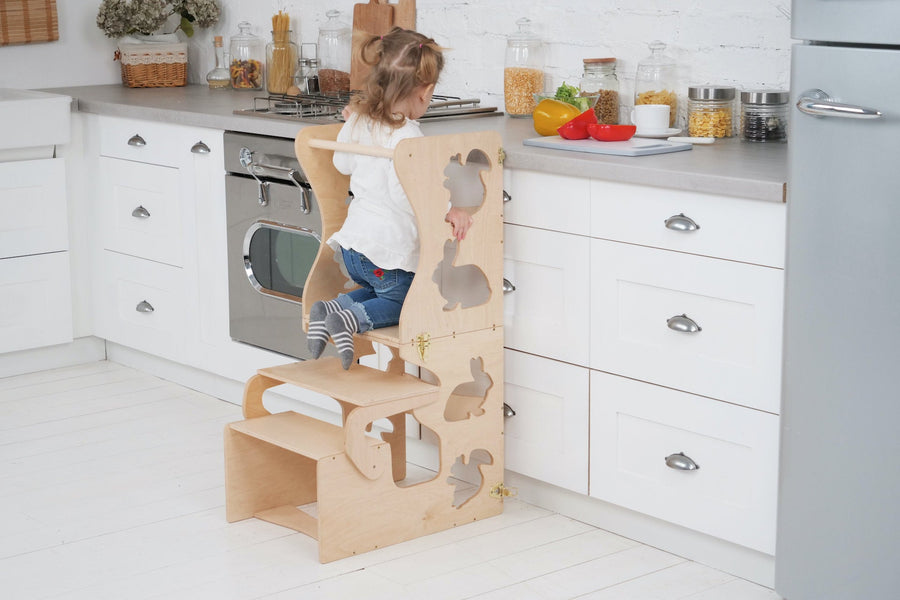 Transformer Kitchen tower and learning Table Animal decor, back support.