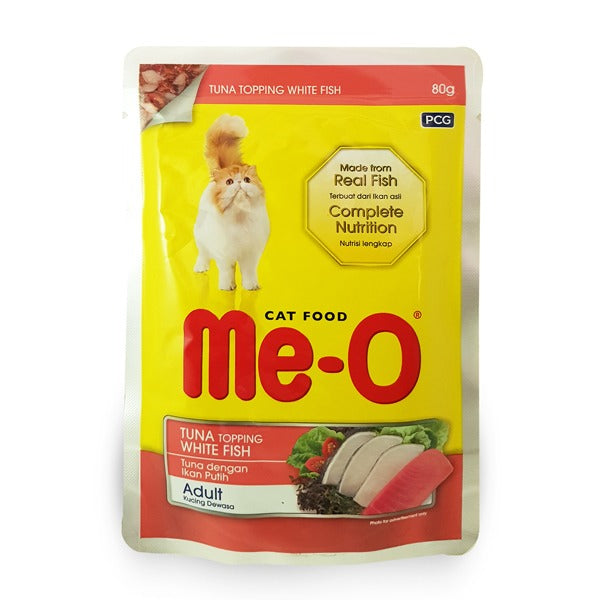 ME-O  CAT FOOD POUCH TUNA TOPPING WHITE FISH 80 g