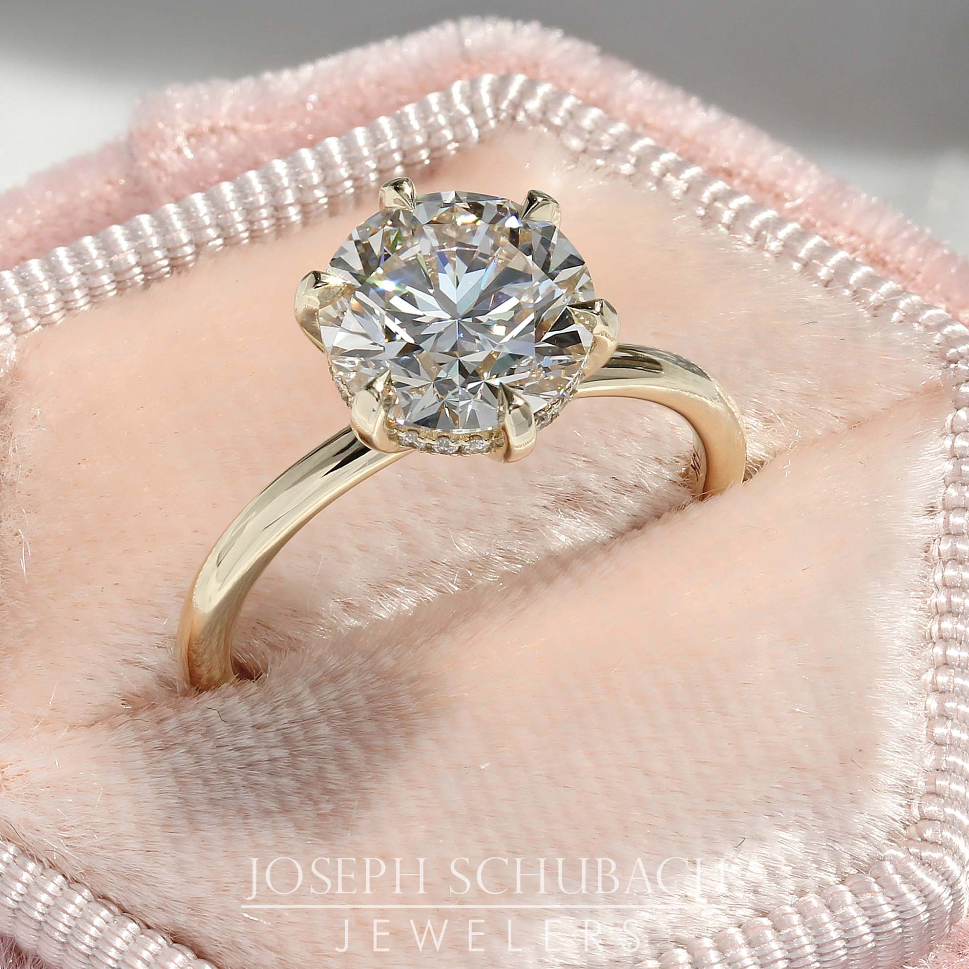Round Duchess Engagement Ring with Petite Pavé Under Bezel (Style 103343)