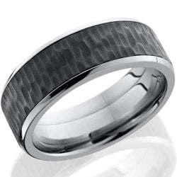 Style 103850: Titanium 8mm beveled band with 6mm Zirconium center
