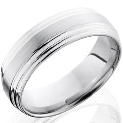 Style 103687: Cobalt Chrome 7mm Flat Band with Double Grooved Edge