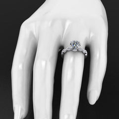 Style 103307: Diamond Scalloped Engagement Ring With Milgrained Edges And Leaf Design Basket