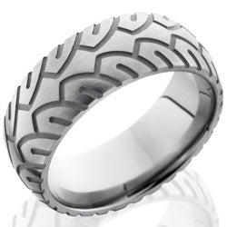 Style 103547: Titanium 8mm Domed Band with Tire Tread Pattern