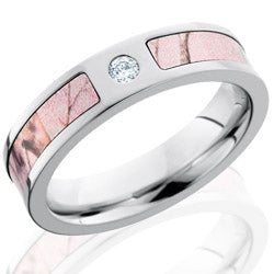 Style 103791: Cobalt Chrome 5mm Flat Band with 3mm of Pink Realtree AP and Flush White Diamond