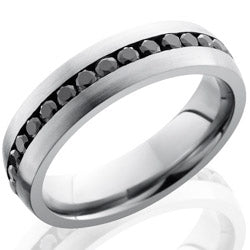 Style 103653: Cobalt Chrome 6mm Domed Band with Channel Set Black Diamonds