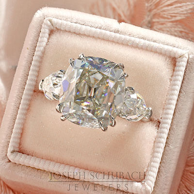 Style 103395: The Monaco custom made three stone ring with an Old Mine Cut center and antique pear shape side stones