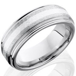Style 103764: Cobalt Chrome 8mm Flat Band with Rounded Edges and 2mm SS