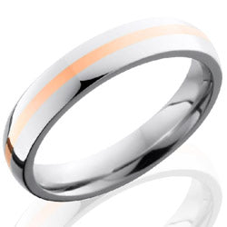 Style 103634: Cobalt Chrome 4mm Domed Band with 1mm of 14KR