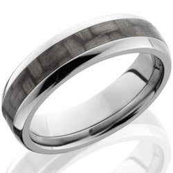 Style 103594: Titanium 6mm Domed Band with 3mm of Carbon Fiber