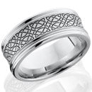 Style 103789: Cobalt Chrome 9mm concave band with rounded edges and laser carved Celtic 18 pattern
