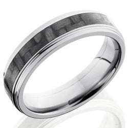 Style 103595: Titanium 6mm Flat Band with Grooved edge and 3mm of Carbon Fiber