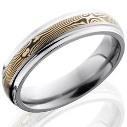Style 103510: Titanium 5mm Domed Band with Grooved Edges and 14KW and Shakudo Mokume