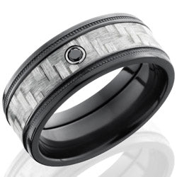 Style 103946: Zirconium 9mm Flat Band with 5mm of Silver Carbon Fiber, Grooved Edges and Bezel-set