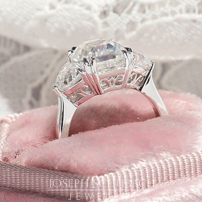 Setting Side View - Casablanca Custom Made Three Stone Ring with Trillion Side Stones and Filigree Gallery (Style 103397)